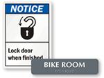 Bike Room Signs