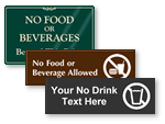 No Food or Beverages Allowed Signs