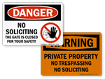 Outdoor No Soliciting Signs