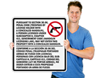 30.06 and 30.07 Texas Concealed Carry Signs