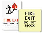 Braille Fire Exit Signs