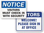 Visitors Must Check In Signs