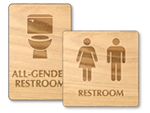Wooden Restroom Signs