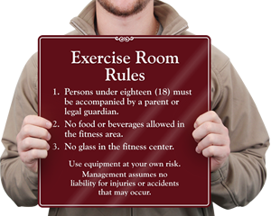Exercise Room Rules Sign