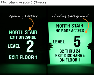 Glow in the dark stair exit signs