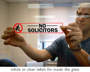 White or Clear Glass Door Labels