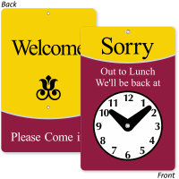 Sorry Out To Lunch Be Back Clock Sign