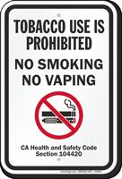 No Smoking No Vaping Safety Code Section Sign