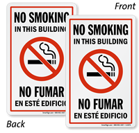 Bilingual No Smoking In This Building Double-Sided Label