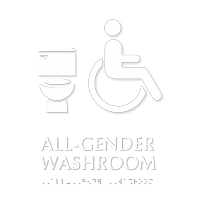 All-Gender Washroom Braille Sign with Toilet Seat Icon
