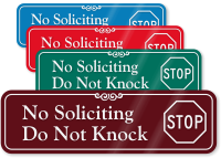No Soliciting, Do Not Knock ShowCase™ Wall Sign