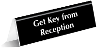Get Key From Reception Tabletop Tent Sign