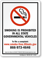 Smoking Prohibited In State Governmental Vehicles Sign