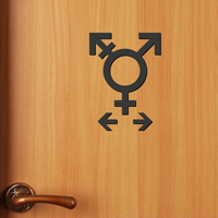 Gender Neutral Symbol Restroom Die Cut Sign Kit