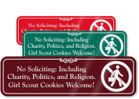 No Soliciting Charity Politics Engraved Sign