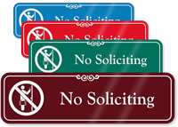 No Soliciting with Symbol Sign