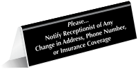 Notify Receptionist Change In Address Phone Tent Sign