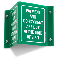 Payment Co-Payment Due At Time Of Visit Sign