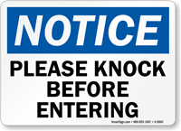 Please Knock Before Entering Notice Sign