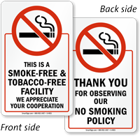 Smoke Free Tobacco Free Facility Sign