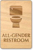 All-Gender Wooden Restroom Sign