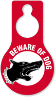 Beware Of Dog Pear Shaped Hang Tag