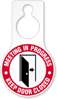 Meeting In Progress Plastic Door Hang Tag