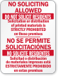 Bilingual No Soliciting Allowed On These Premises Sign