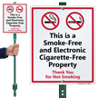 Smoke-Free And Electronic Cigarette-Free Property LawnBoss Sign Kit