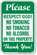 No Smoking No Tobacco No Alcohol Sign