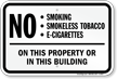 No Smoking, Smokeless Tobacco, E-Cigarettes On Property Sign