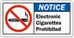 Electronic Cigarettes Prohibited Label with Graphic