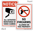No Firearms Allowed On Property Double-Sided Label
