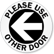 Please Use Other Door Left Arrow Decal