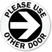 Please Use Other Door Right Arrow Decal