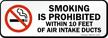 Smoking Prohibited Within 10 Feet Air Intake label