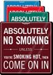 Absolutely No Smoking ShowCase Wall Sign
