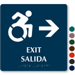 Bilingual Accessible Exit Braille Sign with Right Arrow