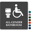 All-Gender Bathroom Braille Sign with Toilet Seat Symbol