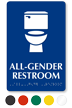 All-Gender Braille Restroom Sign with Toilet Symbol