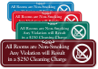 Rooms Are Non Smoking Violation Cleaning Charge Sign