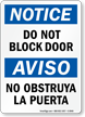 Bilingual Do Not Block Door OSHA Notice Sign
