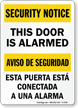 This Door Is Alarmed Bilingual Security Notice Sign