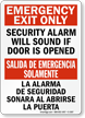 Emergency Exit Only Security Alarm Sign Bilingual