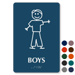 Boys Stick Figure TactileTouch Braille Restroom Sign