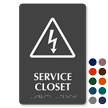 Service Closet High Voltage Symbol Sign with Braille