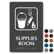 Supplies Room with Symbol TactileTouch™ Sign with Braille