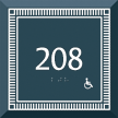 Custom Azteca Room Number Braille Signs with Border, 5.5