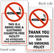 Smoke-Free & Electronic Cigarette-Free Facility 2-Sided Window Decals