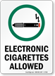Electronic Cigarettes Allowed, Smoking Sign